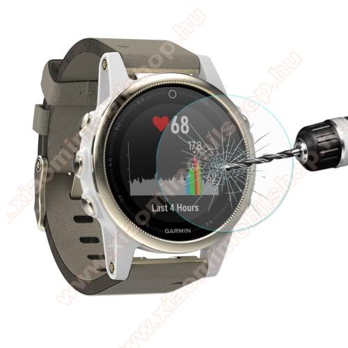 Okosóra előlap védő karcálló edzett üveg - HAT PRINCE 0.2mm 9H, A képernyő sík részét védi - Garmin Fenix 6S / 6S Pro / 5S / 5S Plus / 5S Plus Sapphire / Garmin Vivoactive 3