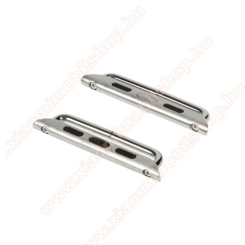 Okosóra fém csatlakozó - 1 pár (2db), csavarhúzóval - EZÜST - Apple Watch Series 1/2/3 38mm / APPLE Watch Series 4 40mm / APPLE Watch Series 5 40mm