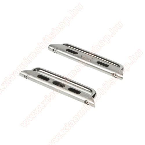 Okosóra fém csatlakozó - 1 pár (2db), csavarhúzóval - EZÜST - APPLE Watch Series 3/2/1 42mm / APPLE Watch Series 4 44mm / APPLE Watch Series 5 44mm