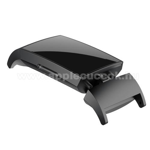 Okosóra fém csatlakozó - 2db/1pár - FEKETE - bármilyen 18mm-es teleszkópos szíjjal használható - Fitbit Charge 3/ Fitbit Charge 4