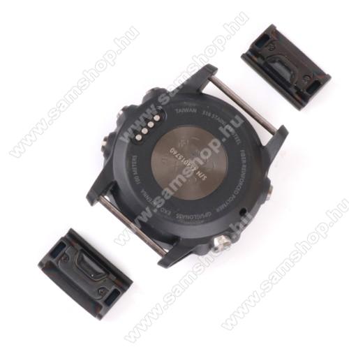 Okosóra fém csatlakozó / átalakító - 2db, 20mm-es szíjakkal használható, QUICKFIT - FEKETE - Garmin fenix 5 / Fenix 5 Plus / Forerunner 935 / Forerunner 945 / Approach S60 / Quatix 5 / Quatix 5 Sapphire