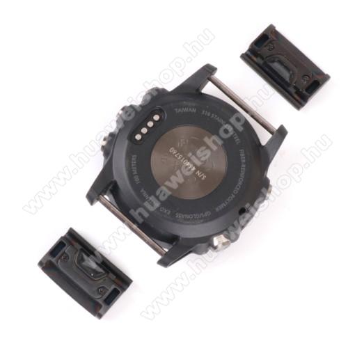 Okosóra fém csatlakozó / átalakító - 2db, 20mm-es szíjakkal használható - FEKETE - Garmin fenix 5 / Fenix 5 Plus / Forerunner 935 / Forerunner 945 / Approach S60 / Quatix 5 / Quatix 5 Sapphire