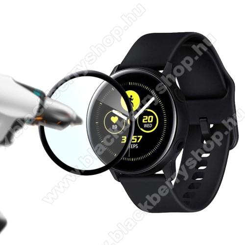 Okosóra képernyővédő fólia - 2db, 6H - A TELJES ELŐLAPOT VÉDI! - FEKETE - SAMSUNG SM-R500 Galaxy Watch Active