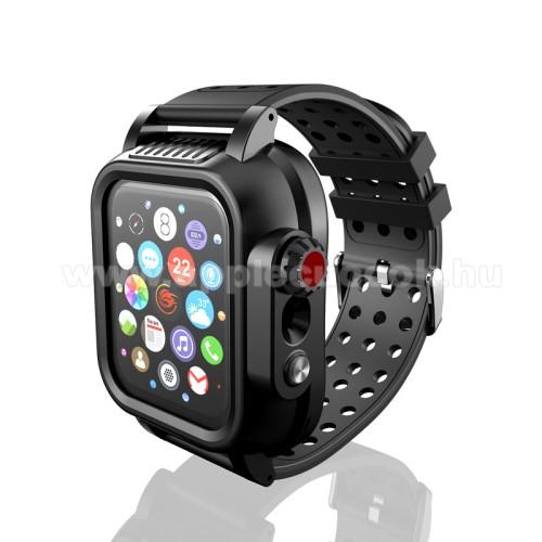 Apple Watch Series 5 44mmOkosóra légáteresztő szilikon szíj / műanyag vízálló tok - FEKETE - 360°-os vízálló védőtok + légáteresztő szilikon szíj - APPLE Watch Series 4/5/6 44mm / Watch SE 44mm