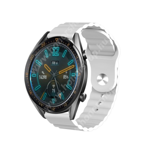 HUAWEI Watch GT 46mm Okosóra loop szilikon szíj - FEHÉR - 109mm+95mm hosszú, 22mm széles, 160-220mm csuklóméretig ajánlott - SAMSUNG Galaxy Watch 46mm / Watch GT2 46mm / Watch GT 2e / Gear S3 Frontier / Honor MagicWatch 2 46mm