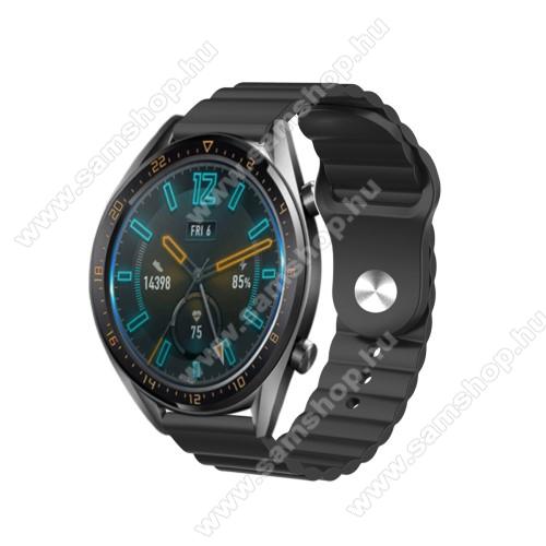 Okosóra loop szilikon szíj - FEKETE - 109mm+95mm hosszú, 22mm széles, 160-220mm csuklóméretig ajánlott - SAMSUNG Galaxy Watch 46mm / Watch GT2 46mm / Watch GT 2e / Gear S3 Frontier / Honor MagicWatch 2 46mm