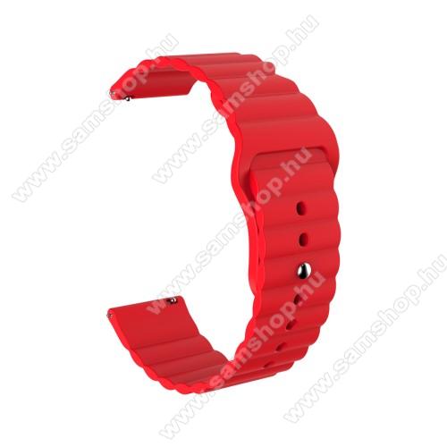 SAMSUNG Galaxy Watch Active2 40mmOkosóra loop szilikon szíj - PIROS - 85mm+105mm hosszú, 20mm széles, 160mm-től 220mm-es méretű csuklóig ajánlott - SAMSUNG Galaxy Watch 42mm / Amazfit GTS / HUAWEI Watch GT 2 42mm / Galaxy Watch Active / Active 2