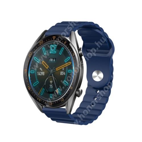 HUAWEI Watch GT 46mm Okosóra loop szilikon szíj - SÖTÉTKÉK - 109mm+95mm hosszú, 22mm széles, 160-220mm csuklóméretig ajánlott - SAMSUNG Galaxy Watch 46mm / Watch GT2 46mm / Watch GT 2e / Gear S3 Frontier / Honor MagicWatch 2 46mm