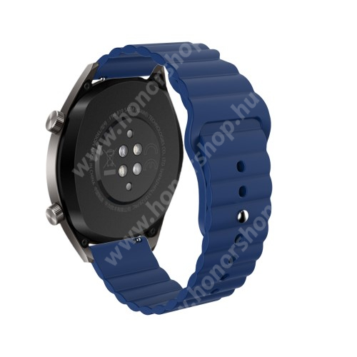 HUAWEI Watch GT 46mm Okosóra loop szilikon szíj - SÖTÉTKÉK - 85mm+120mm hosszú, 22mm széles - SAMSUNG Galaxy Watch 46mm / Watch GT2 46mm / Watch GT 2e / Gear S3 Frontier / Honor MagicWatch 2 46mm