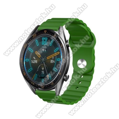 ZTE Watch GTOkosóra loop szilikon szíj - ZÖLD - 109mm+95mm hosszú, 22mm széles, 160-220mm csuklóméretig ajánlott - SAMSUNG Galaxy Watch 46mm / Watch GT2 46mm / Watch GT 2e / Gear S3 Frontier / Honor MagicWatch 2 46mm