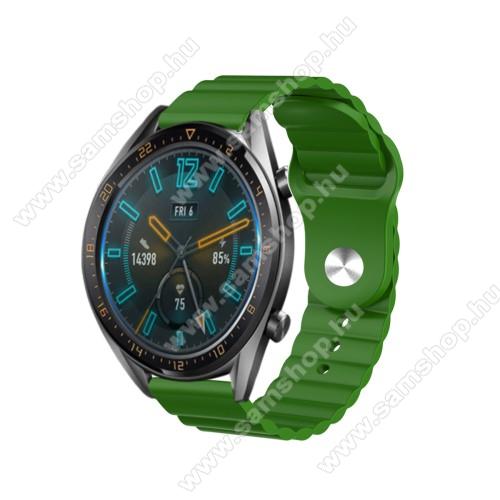 SAMSUNG SM-R760 Gear S3 FrontierOkosóra loop szilikon szíj - ZÖLD - 109mm+95mm hosszú, 22mm széles, 160-220mm csuklóméretig ajánlott - SAMSUNG Galaxy Watch 46mm / Watch GT2 46mm / Watch GT 2e / Gear S3 Frontier / Honor MagicWatch 2 46mm
