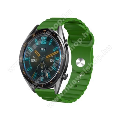 HUAWEI Watch GT 2eOkosóra loop szilikon szíj - ZÖLD - 109mm+95mm hosszú, 22mm széles, 160-220mm csuklóméretig ajánlott - SAMSUNG Galaxy Watch 46mm / Watch GT2 46mm / Watch GT 2e / Gear S3 Frontier / Honor MagicWatch 2 46mm