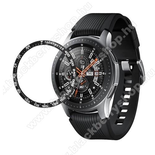 Okosóra lünetta védő alumínium - a másodpercmutató segítségével a tachymeter skáláról leolvashatod az óránkénti átlagsebességet - FEKETE - SAMSUNG Galaxy Watch 42mm