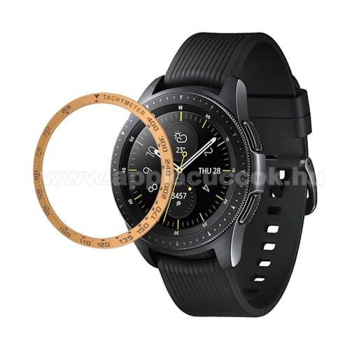 Okosóra lünetta védő alumínium - a másodpercmutató segítségével a tachymeter skáláról leolvashatod az óránkénti átlagsebességet - ARANY - SAMSUNG Galaxy Watch 46mm