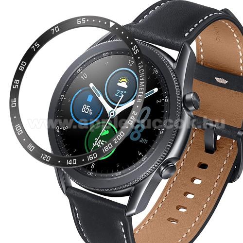 Okosóra lünetta védő alumínium - a másodpercmutató segítségével a tachymeter skáláról leolvashatod az óránkénti átlagsebességet - FEKETE / FEHÉR - SAMSUNG Galaxy Watch3 45mm (SM-R845F)