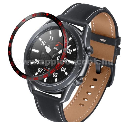 Okosóra lünetta védő alumínium - a másodpercmutató segítségével a tachymeter skáláról leolvashatod az óránkénti átlagsebességet - FEKETE / PIROS - SAMSUNG Galaxy Watch3 45mm (SM-R845F)