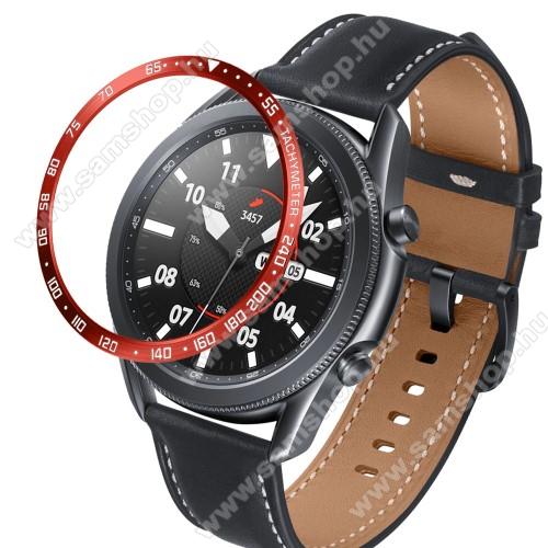 Okosóra lünetta védő alumínium - a másodpercmutató segítségével a tachymeter skáláról leolvashatod az óránkénti átlagsebességet - PIROS - SAMSUNG Galaxy Watch3 45mm (SM-R845F)
