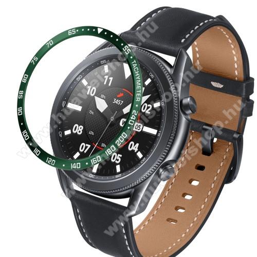 Okosóra lünetta védő alumínium - a másodpercmutató segítségével a tachymeter skáláról leolvashatod az óránkénti átlagsebességet - ZÖLD - SAMSUNG Galaxy Watch3 45mm (SM-R845F)