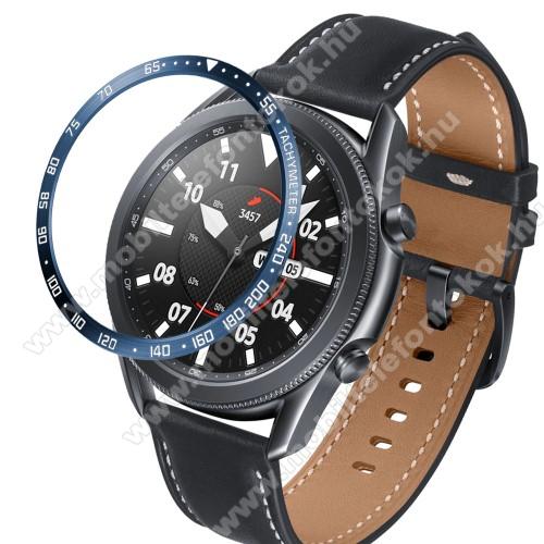 Okosóra lünetta védő alumínium - a másodpercmutató segítségével a tachymeter skáláról leolvashatod az óránkénti átlagsebességet - KÉK - SAMSUNG Galaxy Watch3 45mm (SM-R845F)