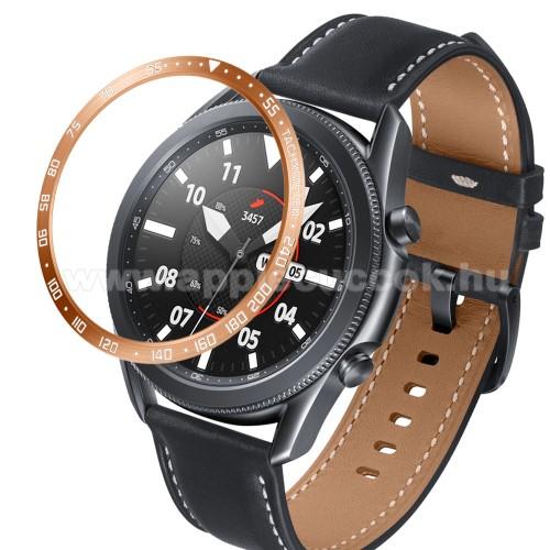 Okosóra lünetta védő alumínium - a másodpercmutató segítségével a tachymeter skáláról leolvashatod az óránkénti átlagsebességet - ROSE GOLD - SAMSUNG Galaxy Watch3 45mm (SM-R845F)