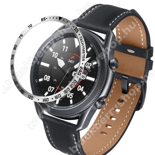 Okosóra lünetta védő alumínium - a másodpercmutató segítségével a tachymeter skáláról leolvashatod az óránkénti átlagsebességet - EZÜST - SAMSUNG Galaxy Watch3 45mm (SM-R845F)