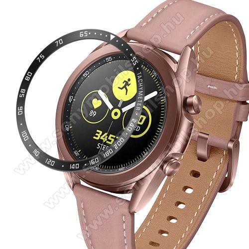 Okosóra lünetta védő alumínium - a másodpercmutató segítségével a tachymeter skáláról leolvashatod az óránkénti átlagsebességet - FEKETE / FEHÉR - SAMSUNG Galaxy Watch3 41mm (SM-R855F)