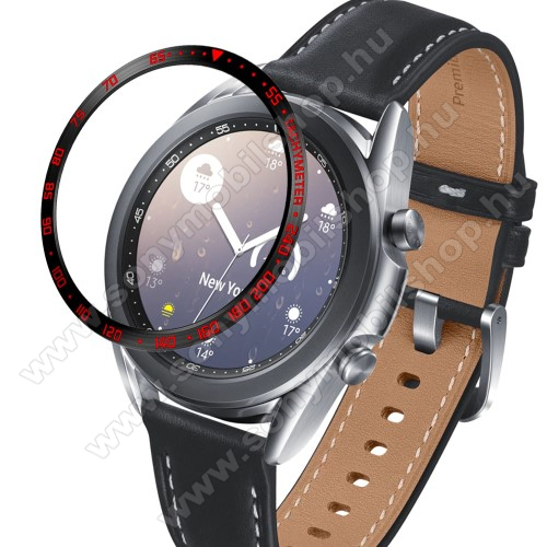 Okosóra lünetta védő alumínium - a másodpercmutató segítségével a tachymeter skáláról leolvashatod az óránkénti átlagsebességet - FEKETE / PIROS - SAMSUNG Galaxy Watch3 41mm (SM-R855F)