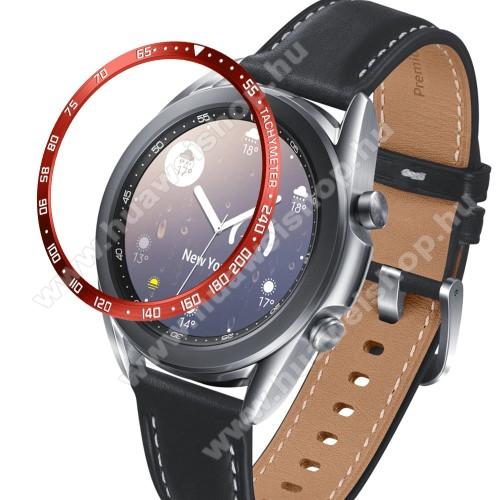 Okosóra lünetta védő alumínium - a másodpercmutató segítségével a tachymeter skáláról leolvashatod az óránkénti átlagsebességet - PIROS - SAMSUNG Galaxy Watch3 41mm (SM-R855F)