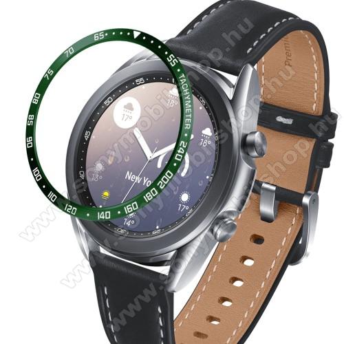 Okosóra lünetta védő alumínium - a másodpercmutató segítségével a tachymeter skáláról leolvashatod az óránkénti átlagsebességet - ZÖLD - SAMSUNG Galaxy Watch3 41mm (SM-R855F)