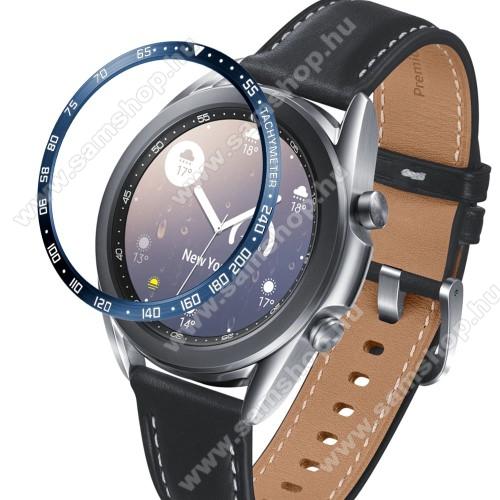 Okosóra lünetta védő alumínium - a másodpercmutató segítségével a tachymeter skáláról leolvashatod az óránkénti átlagsebességet - KÉK - SAMSUNG Galaxy Watch3 41mm (SM-R855F)