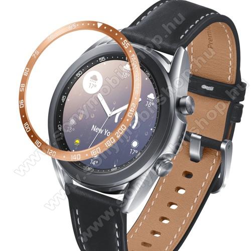 Okosóra lünetta védő alumínium - a másodpercmutató segítségével a tachymeter skáláról leolvashatod az óránkénti átlagsebességet - ROSE GOLD - SAMSUNG Galaxy Watch3 41mm (SM-R855F)