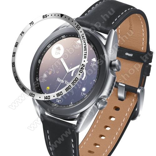 Okosóra lünetta védő alumínium - a másodpercmutató segítségével a tachymeter skáláról leolvashatod az óránkénti átlagsebességet - EZÜST - SAMSUNG Galaxy Watch3 41mm (SM-R855F)