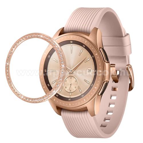 Okosóra lünetta védő alumínium - ARANY - strasszkővel díszített - SAMSUNG Galaxy Watch 42mm