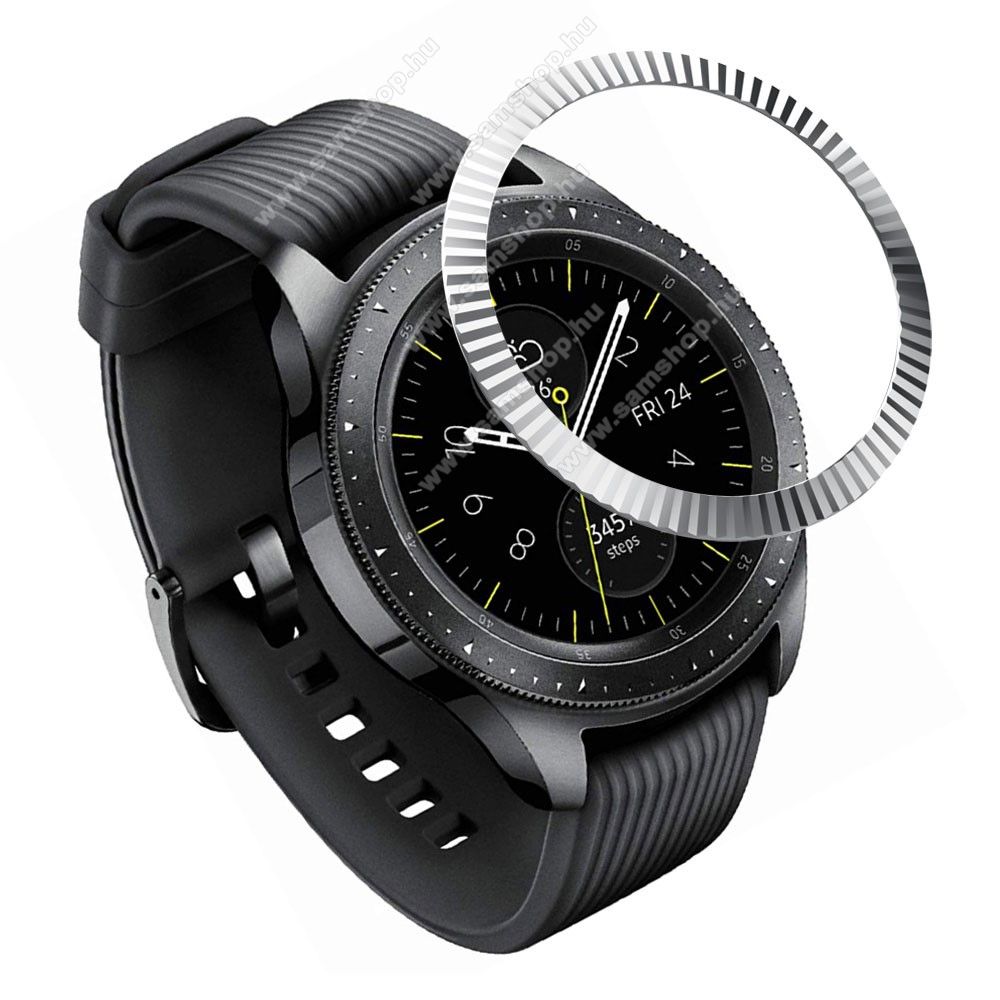 SAMSUNG Galaxy Watch 42mm (SM-R810NZ) Okosóra lünetta védő alumínium - EZÜST - SAMSUNG Galaxy Watch 42mm