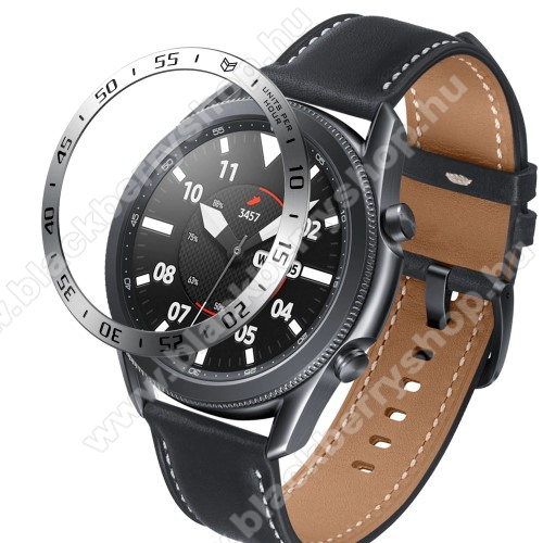Okosóra lünetta védő alumínium - EZÜST - SAMSUNG Galaxy Watch3 45mm (SM-R845F)