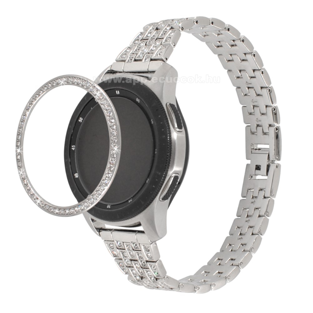 Okosóra lünetta védő alumínium - EZÜST - strasszkővel díszített - SAMSUNG Galaxy Watch 42mm