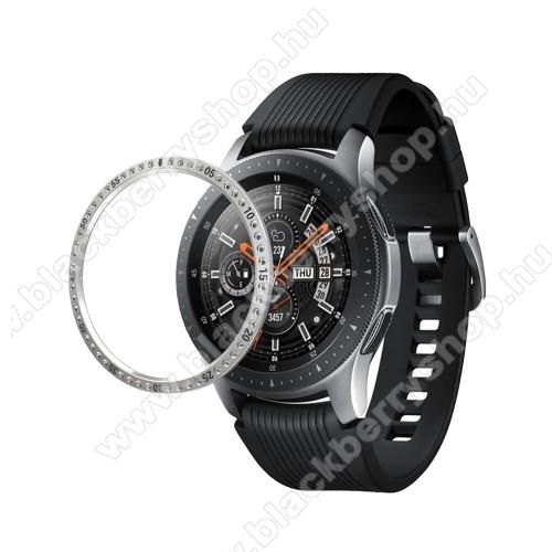 Okosóra lünetta védő alumínium - EZÜST - strasszkővel díszített - SAMSUNG Galaxy Watch 46mm