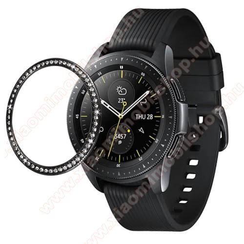 Okosóra lünetta védő alumínium - FEKETE - strasszkővel díszített - SAMSUNG Galaxy Watch 46mm
