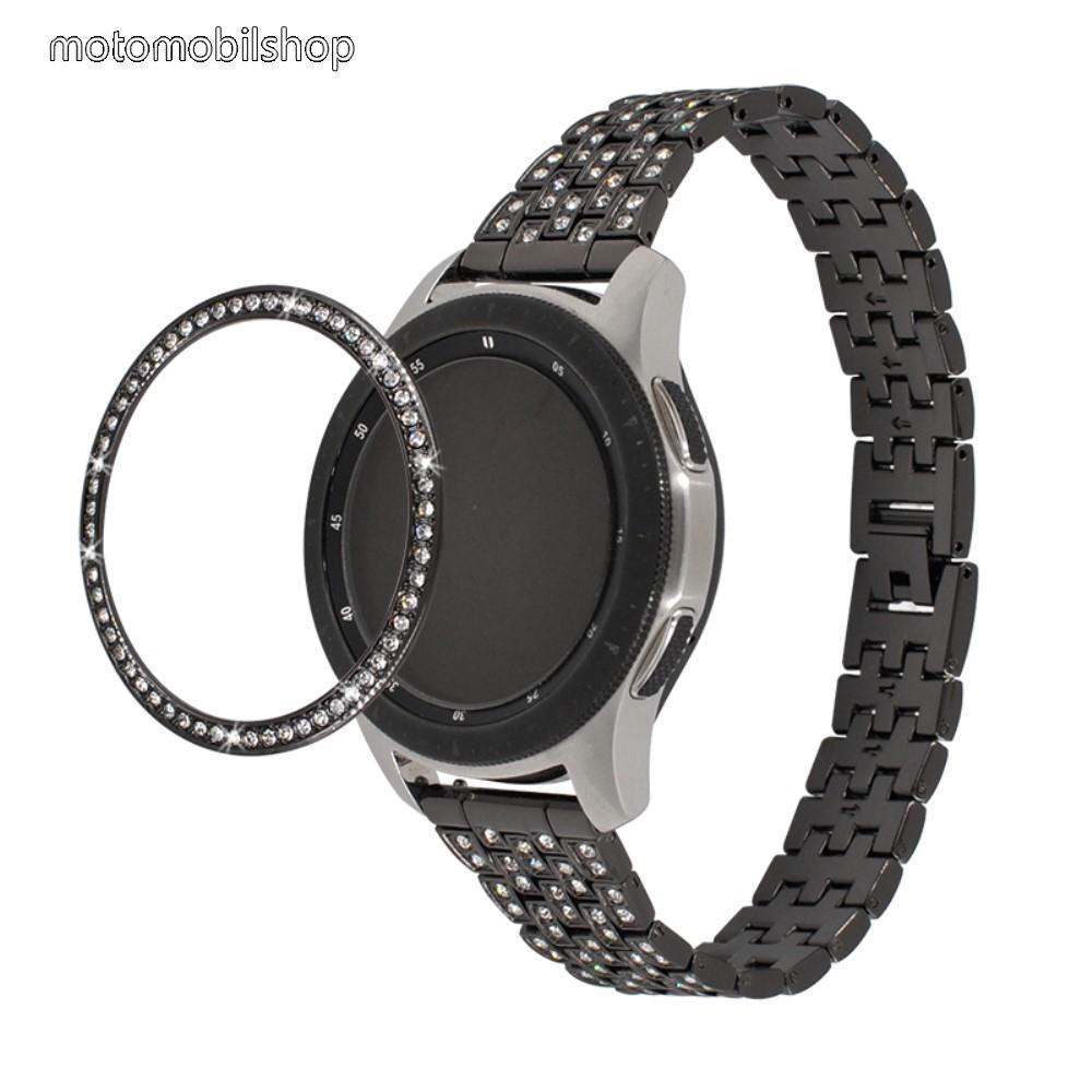 Okosóra lünetta védő alumínium - FEKETE - strasszkővel díszített - SAMSUNG Galaxy Watch 42mm