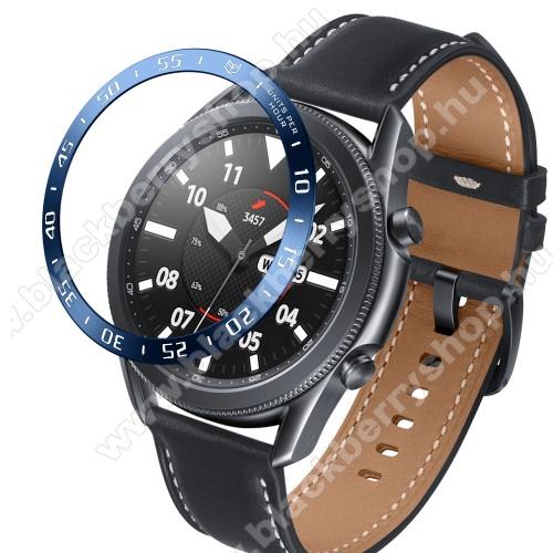 Okosóra lünetta védő alumínium - KÉK - SAMSUNG Galaxy Watch3 45mm (SM-R845F)