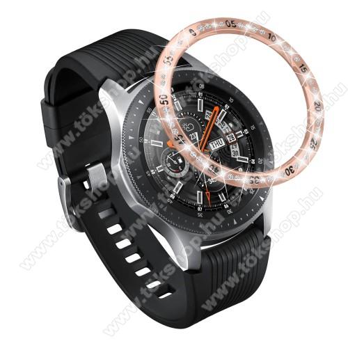 Okosóra lünetta védő alumínium - ROSE GOLD - strasszkővel díszített - SAMSUNG Galaxy Watch 42mm