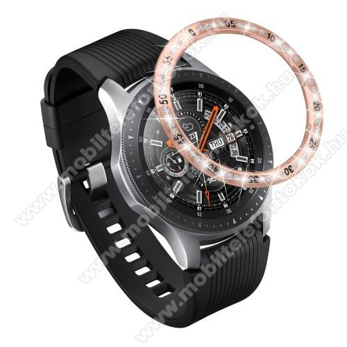 Okosóra lünetta védő alumínium - ROSE GOLD - strasszkővel díszített - SAMSUNG Galaxy Watch 46mm