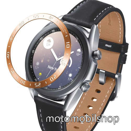 Okosóra lünetta védő alumínium - ROSE  GOLD - SAMSUNG Galaxy Watch3 41mm (SM-R855F)