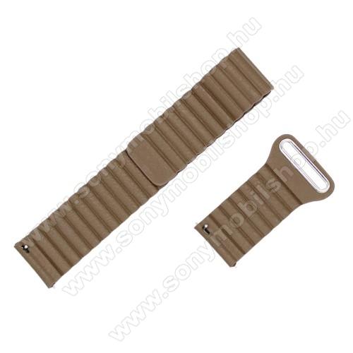 Okosóra mágneses loop szíj - BARNA - valódi bőr, 20mm széles - SAMSUNG Galaxy Watch 42mm / Xiaomi Amazfit GTS / SAMSUNG Gear S2 / HUAWEI Watch GT 2 42mm / Galaxy Watch Active / Active 2
