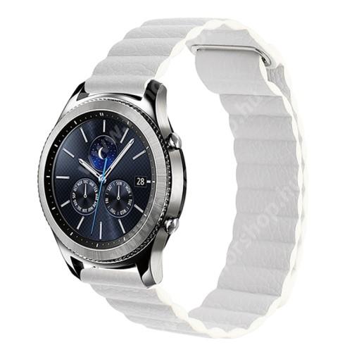 Okosóra mágneses loop szíj - FEHÉR - valódi bőr - 220mm hosszú, 20mm széles - SAMSUNG Galaxy Watch 42mm / Xiaomi Amazfit GTS / HUAWEI Watch GT / SAMSUNG Gear S2 / HUAWEI Watch GT 2 42mm / Galaxy Watch Active / Active 2