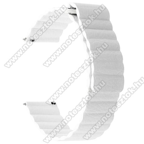 HUAWEI Honor MagicWatch 2 46mmOkosóra mágneses loop szíj - FEHÉR - valódi bőr - 220mm hosszú, 22mm széles - HUAWEI Watch GT / SAMSUNG Galaxy Watch 46mm / SAMSUNG Gear S3 Classic / SAMSUNG Gear S3 Frontier
