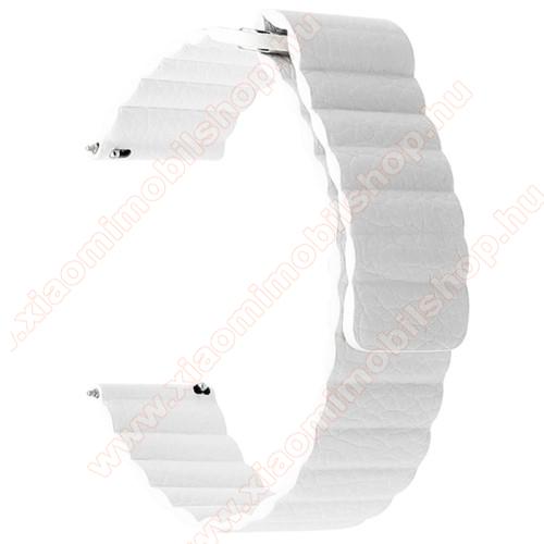 Xiaomi Amazfit PaceOkosóra mágneses loop szíj - FEHÉR - valódi bőr - 220mm hosszú, 22mm széles - HUAWEI Watch GT / SAMSUNG Galaxy Watch 46mm / SAMSUNG Gear S3 Classic / SAMSUNG Gear S3 Frontier