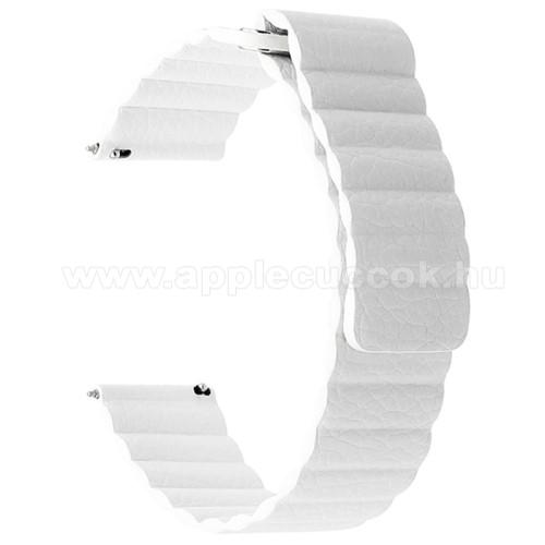 Okosóra mágneses loop szíj - FEHÉR - valódi bőr - 220mm hosszú, 22mm széles - HUAWEI Watch GT / SAMSUNG Galaxy Watch 46mm / SAMSUNG Gear S3 Classic / SAMSUNG Gear S3 Frontier