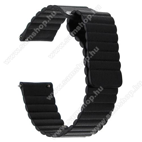 SAMSUNG SM-R720 Gear S2 ClassicOkosóra mágneses loop szíj - FEKETE - PU bőr, mágneses - 20mm széles, 160-204 mm-es csuklóig használható - SAMSUNG Galaxy Watch 42mm / Xiaomi Amazfit GTS / SAMSUNG Gear S2 / HUAWEI Watch GT 2 42mm / Galaxy Watch Active / Active 2
