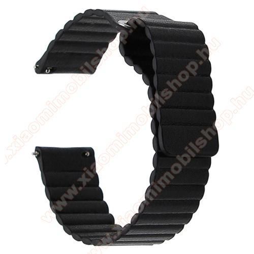 Xiaomi Amazfit GTSOkosóra mágneses loop szíj - FEKETE - PU bőr, mágneses - 20mm széles, 160-204 mm-es csuklóig használható - SAMSUNG Galaxy Watch 42mm / Xiaomi Amazfit GTS / SAMSUNG Gear S2 / HUAWEI Watch GT 2 42mm / Galaxy Watch Active / Active 2